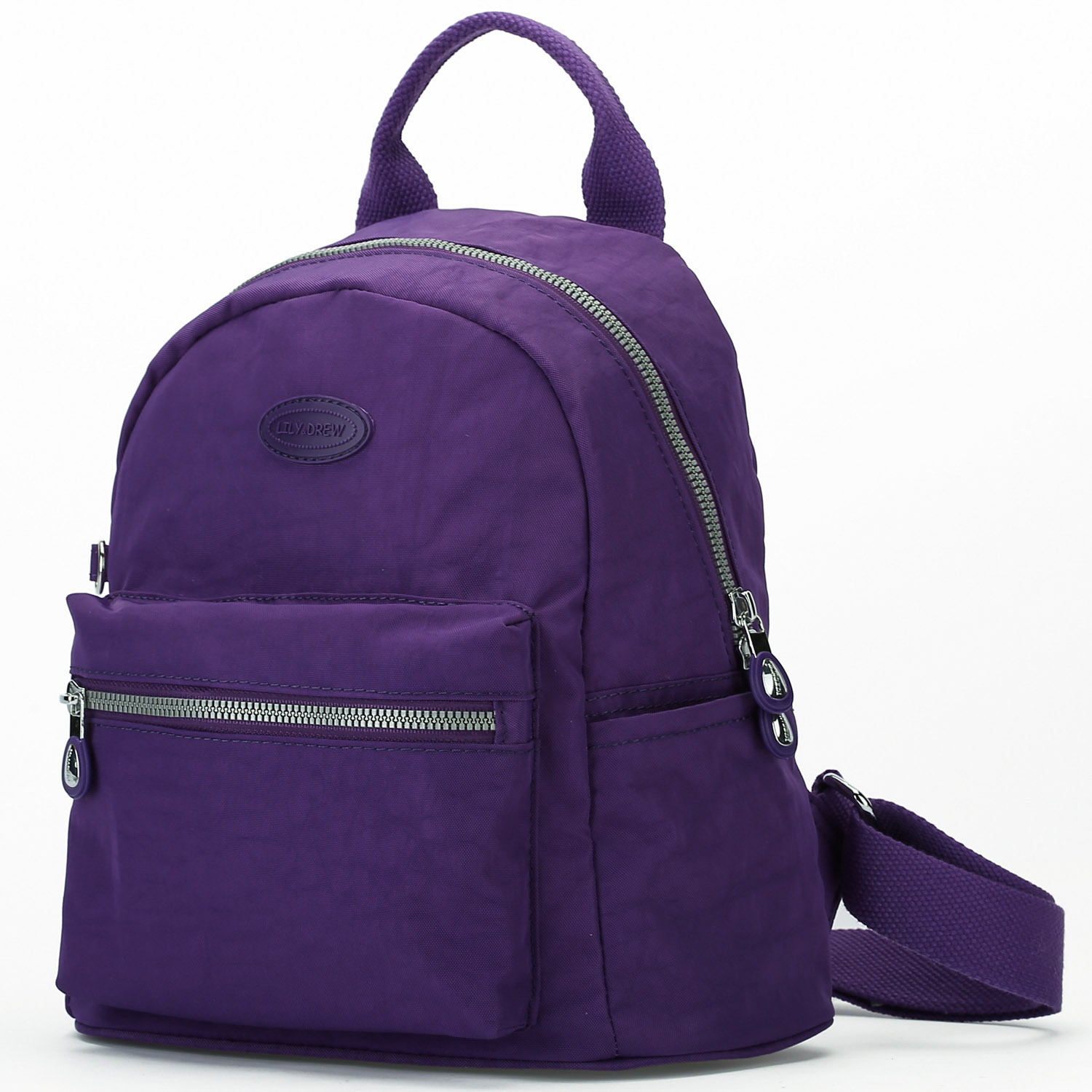 Lily Drew Nylon Mini Casual Travel Daypack Backpack Purse Purple And